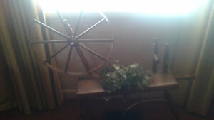 Decorative Antique Maple Spinning Wheel