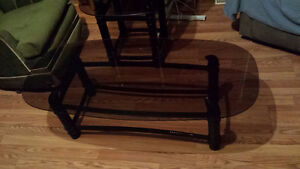 Glass Black Coffee table and 2 smaller end tables