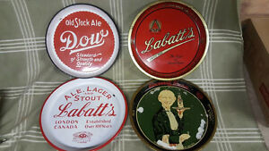 4 Vintage Beer Trays. Labatt's. Dow. Cincinnati Cream