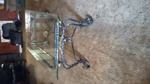 Wrought iron and glass Coffee and end table set