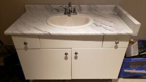 1 Year Old Bathroom Vanity with Counter Top, Sink & Faucet