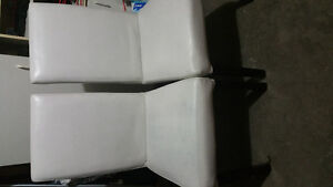 4 white leather parson chairs