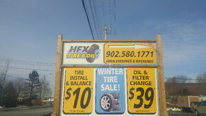 $10.00 per tire Install plus Balance, New Tire Sales and Oil Cha