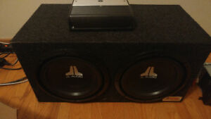 "2 JL 10"" subs in box w/ amp"