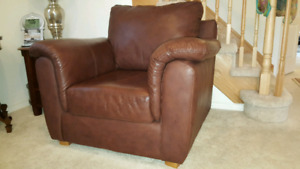 Brown genuine leather couch