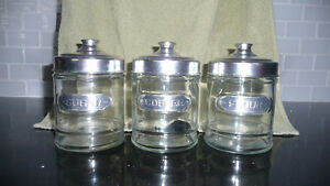 Clear GLASS Canisters - SET OF 3 - Coffee, Flour and Sugar NICE!