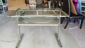 Glass desk with removable keyboard drawer