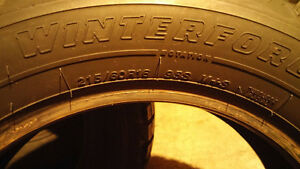 4 Firestone Winterforce 215 60 16 winter tires in excellent cond Cambridge Kitchener Area image 4
