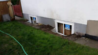 Basement window and door cutting and installation.