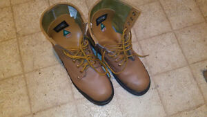 New leather safety boots.