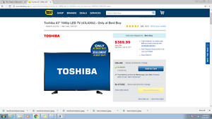 """43"""" TV On sale $369.00 at best buy. Will Do $300. Never Opened."""