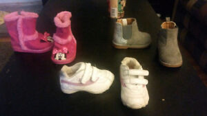 3 pairs of size 4 toddler shoes/boots