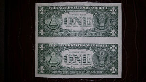 1 UNCUT SHEET OF 2 AMERICAN 1$ BILLS IN MINT CONDITION ONLY 25$. London Ontario image 2
