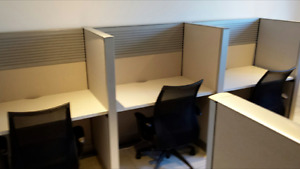 Steelcase Answer call Center cubicles with accessory slatwall