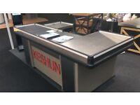 Supermarket Cashier Counter with Conveyor Belt + Vegetable Shelf + Wine Cabinet