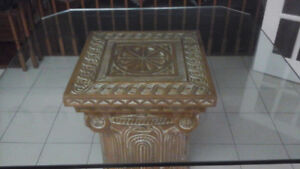 Solid wood base table with glass top