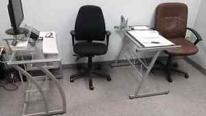 2 Glass work tables and chairs $99