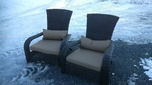 weatherproof woven Muskoka Chairs. Never used.