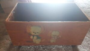 VINTAGE HOMEMADE TOY BOX ON FOUR WHEELS