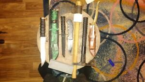 Assorted hunting knives (smith and wesson, SOG, etc)