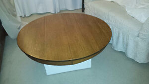 Antique Solid Oak Round Table Top used as Coffee Table