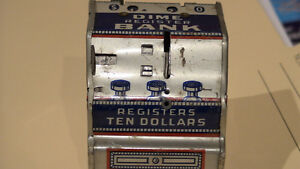 Banks, vintage banks one all tin,, fine condition ($165.for both