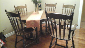 Dining Set with 5 Chairs - Solid Wood