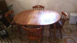 Kitchen Table Set - Solid Wood With Four (4) Wood Chairs