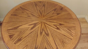 SOLID OAK DINING TABLE ROUND / OVAL WITH METAL BASE Peterborough Peterborough Area image 1