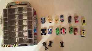 16 mini cars with hot wheels carrying case.  SOLD PPU.