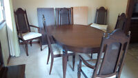 Solid wood oval dining table and hutch