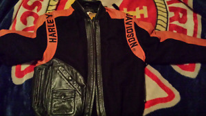 Leather/wool Harley jacket