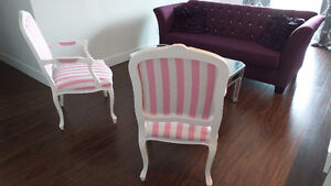SOLD! Two custom made pink and white striped chairs Kitchener / Waterloo Kitchener Area image 2