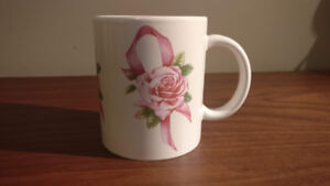 Avon Breast Cancer Awareness Crusade Pink Rose Ribbon Mug 4 Inch