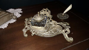 Brass inkwell and pen holder