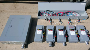Electrical panel, safety switches and splitter trough