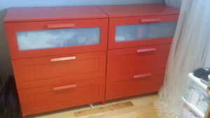 hemnes commode rouge a 3 tiroirs - ikea