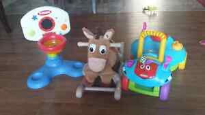 Rocking horse, ride on toy and basketball net