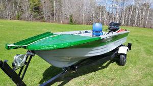 14 foot fiberglass boat with a 20 HP Mercury 2 stroke engine