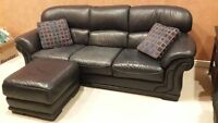 Black genuine soft leather couch 3 seater - top quality