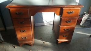 Vintage 6 drawer desk with chair.