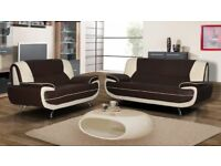 BRAND NEW CAROL LEATHER 3+2 SEATER SOFA SET OR CORNER SUITE or IN BLACK WHITE BROWN CREAM RED GREY