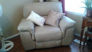 Leather power recliner.