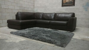 (Free Delivery) - Urban Barn 'Boone' Leather Sectional Sofa