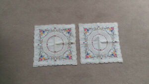 "NEW PAIR of Square Flower Pattern Pillowcases 14"" x 14"""
