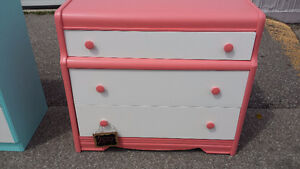 coral dresser with white drawer fronts