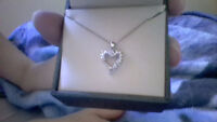 Silver and Diamond Heart Necklace for sale