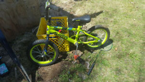 14' boys bike needs new pedals have training wheels $25
