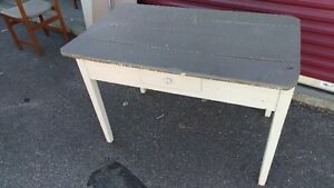 Beautiful Antique Farm Solid Wood Desk With Drawer