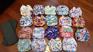 19 Cloth Diapers New & Gently Used - O/S Covers, Inserts & AIO